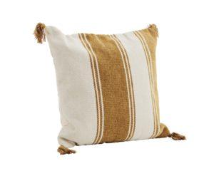 Poduszka w miodowe pasy Madam Stoltz. Poduszka z frędzlami w skandynawskim stylu